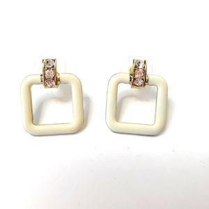 Charming Charlie Earrings Ivory Rhinestone